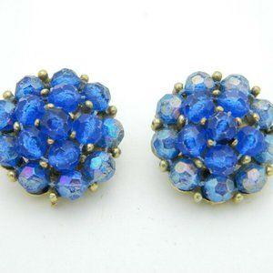 SELINI Blue Prystal Bead Beaded Cluster Earrings